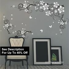 Wall Art Stickers Butterfly Vine Flower Tree Nursery Kids Wall Stickers-/-PD543.