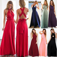 Convertible Multiway Women Long Maxi Dress Bridesmaid Cocktail Party Prom Gown