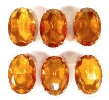6 vintage Glassteine 1970er Jahre topaz Strasssteine 25x18 oval Fassung setting