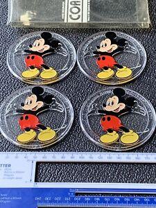 Set of 4x Disney Mickey Mouse Plastic Coasters Retro Vintage Monogram Products