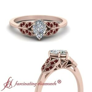 Rose Gold Nature Inspired Ruby Wedding Ring With Center Pear Diamond 0.65 Carat