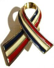 Gold tone lapel tac pin Red White & Blue enamel