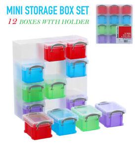 Set of 12 Mini Storage Box Holder Small Drawer Organiser Plastic Hobby Container