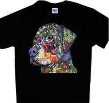 Rottweiler Neon Multicolor Black Tee Dog T'shirt New