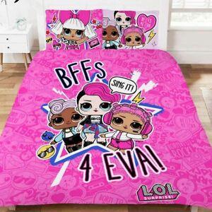 Double Bed Duvet Cover Set LOL Surprise Sing It Pink Cerise BFFs Forever