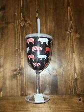 Slant Collections Double Wall Acrylic Wine Glass with Lid and Straw Pigs