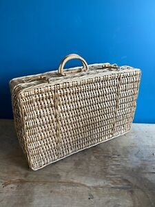 Vintage Woven Wicker Rattan Picnic Basket Suitcase Style Storage Kitchen Decor