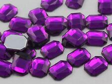 10X8mm Purple Amethyst A06 Flat Back Octagon Acrylic Gemstones - 70 PCS