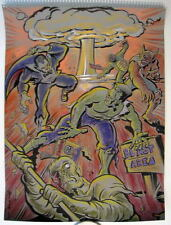 UNIVERSAL MONSTERS 'NUCLEAR BLAST AREA' Original PASTEL DRAWING Artist Bennett