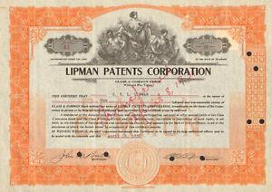Lipman Patents Corporation > 1930 stock certificate signed by C. E. L. Lipman