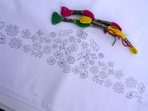 Printed to hand embroider pair of easy care pillow cases Flowers border CS0015