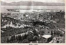 Messina: Panorama. Grande Veduta. Sicilia. Stampa Antica + Passepartout. 1891