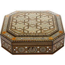 Antique Royal Class Wooden Jewelry Box with Mother of Pearl from Old Istanbul