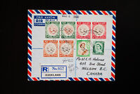 New Zealand 1956 Registered 8 Stamp Cover