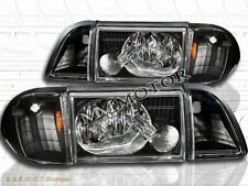 New 87-93 6pcs Set Ford Mustang Black Headlights with Corner and Parking Lights