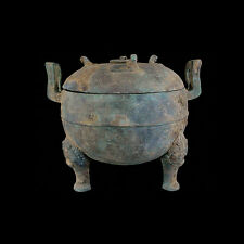 Chinese large tri-legged bronze lidded vessel in the Warring States style x5559