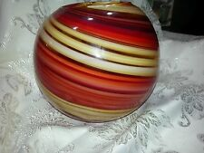 Large Murano Art Glass Red/Yellow Swirl Round Vase
