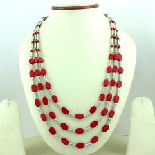 Necklace Natural Red SandStone Small Oval Beaded Handmade Jewelry