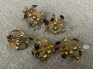 Set Of 5 Pier1 Imports Gold, Brown, Bronze Beaded Napkin Rings