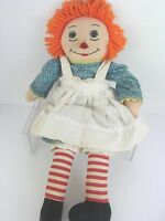 """Raggedy Ann Vintage Hand Embroidered Face, Custom Rag Cloth Doll 20"""" Rose Mead"""