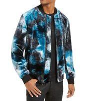 INC Mens Jacket Blue Size Medium M Velvet Tie-Dye Bomber Front-Zip $129 #085