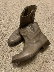 FRYE Short Taupe Distressed Soft Leather Boots 6.5 M Women's