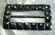 PERFECT VICTORIAN BLACK GLASS & TINTED BRASS BUCKLE 7.6CMS TALL