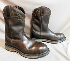 ARIAT MID CALF EMBROIDERED BROWN LEATHER COWBOY RODEO WESTERN BOOTS SZ 10.5 D