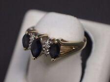 14 K Yellow Gold 3 Blue Gemstone Ring Size 5.25