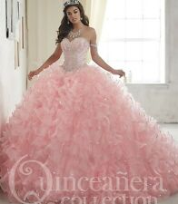 2017 Sweet Pink Quinceanera Dress Ball Gown Formal Pageant Prom Paty Gown Custom