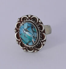 Stone Tribal vintage Nepal S1 Sterling Silver Ring Ethnic Handmade Turquoise