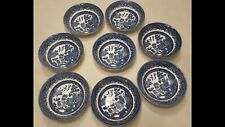 """8  CHURCHILL  ENGLAND Blue Willow 6""""  Soup/Cereal Bowls"""