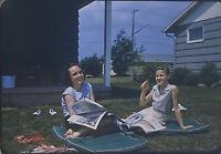 Vintage Photo Slide 1959 Girls Laughing Looking At Magazines Outside Sunshine