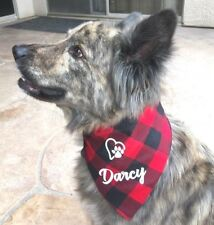 1 personalized Dog Bandana Lumberjack buffalo checkered Plaid Med/Large dogs