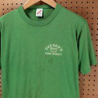 vtg usa made single stitch t-shirt LARGE distressed deener's farm market 80s 90s