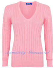 Ralph Lauren Women's Ladies Cable Knit Cotton V Jumper Light Pink Xs-xl XS