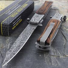 "9"" TAC FORCE ACID ETCHED STILETTO WOOD SPRING ASSISTED FOLDING POCKET KNIFE EDC"