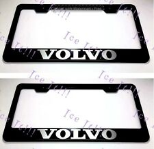 """2X """"VOLVO"""" Stainless Steel Black License Plate Frame Rust Free W/ Bolt Caps"""