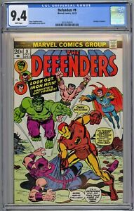 Defenders #9 CGC 9.4 NM Wp Marvel Comics 1973 Avengers X-Over + RARE WHITE PAGES
