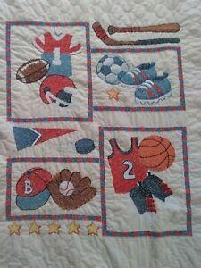 "Handmade Baby Boy Quilt FINISHED Shower Gift ""Little Sports"" Basketball Soccer"