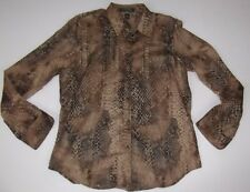 Ralph Lauren Shirt Top Large Brown Animal Print Cotton