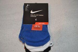 Nike Dri-fit Cotton Cushioned Crew Sock White Black Blue 3 Pack X3 Medium SX4827