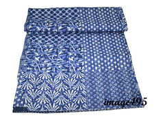 INDIAN COTTON KANTHA BLUE QUILTS BEDSPREAD PATCHWORK BLANKET THROW QUEEN GUDARI