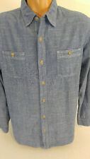 Lee Denim Shirt Mens Large Long Sleeve Light Blue 100% Cotton Button Pockets
