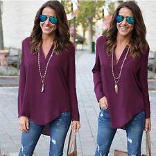 Women Chiffon Shirt Loose Long Sleeve V Neck Formal Casual Blouse T Shirt Tops