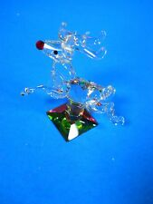 """crystal glass figurine 2.25"""" Rudolph the red nosed reindeer by R.L. May 1989"""