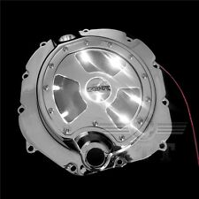 Chrome Engine Clutch Cover w/ White LED See Through For 06-14 Kawasaki ZX-14R