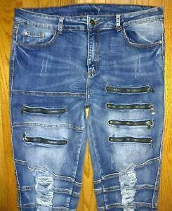 💀 Goth Grunge Destroyed Zipper 80's 90' Retro Skinny Denim Jeans Size 33 x 32