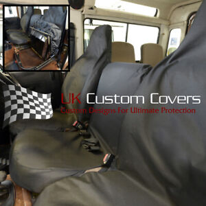 LAND ROVER DEFENDER 90 110 1983-2007 SET 3 TAILORED FRONT SEAT COVERS BLACK 150