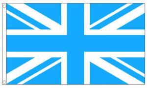 SKY BLUE and WHITE UNION JACK FLAG 5' x 3' Man City Manchester City Colours